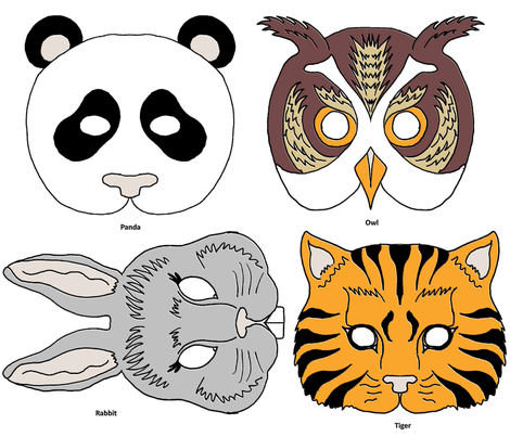 4 Party Animal Masks fabric by kdl on Spoonflower - custom fabric