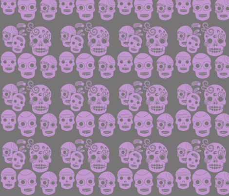 Purple Sugar Skulls fabric by jnifr on Spoonflower - custom fabric