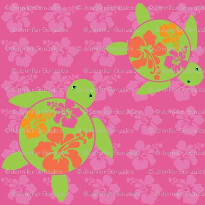 Hawaiian Honu HOT Pink HIbiscus
