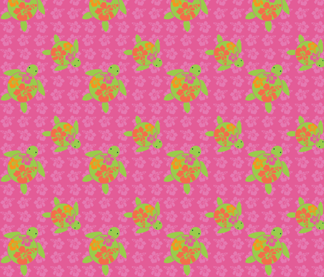 Hawaiian Honu HOT Pink HIbiscus fabric by hapagirldesigns on Spoonflower - custom fabric
