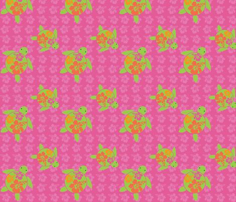Hawaiian Honu HOT Pink HIbiscus fabric by hapagirldesigns on Spoonflower - custom fabric
