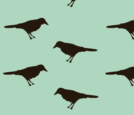 crow_fabric_blue fabric by featheredneststudio on Spoonflower - custom fabric