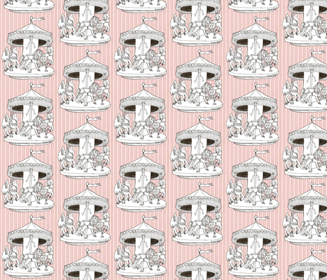 Carrousel en rose fabric by hushaby&quirksdesigns on Spoonflower - custom fabric