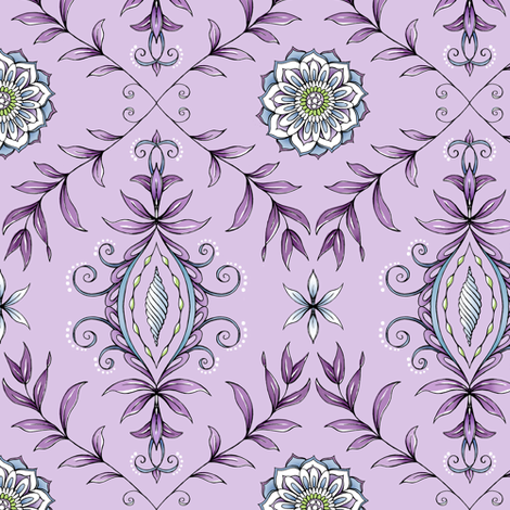 Nature's Damask - Purple fabric by pattysloniger on Spoonflower - custom fabric