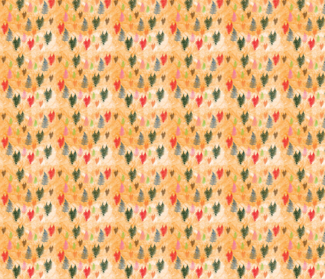 Spring_Ferns_on_Orange fabric by snooky on Spoonflower - custom fabric