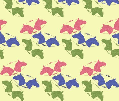 Rrtooled_leather_horse_heads_pink_blue_green_on_yellow_shop_preview