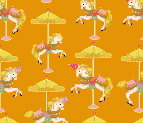 Orange Carousels fabric by jshin on Spoonflower - custom fabric