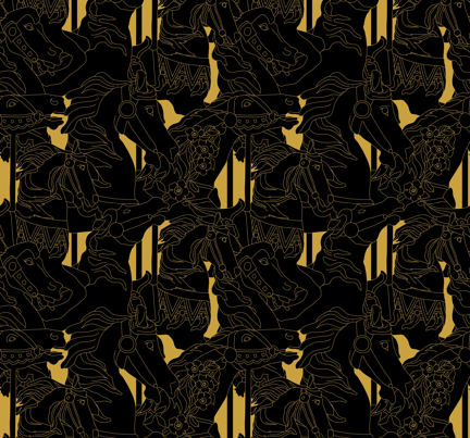 carousel_black_gold fabric by alexandra_eisenberg on Spoonflower - custom fabric