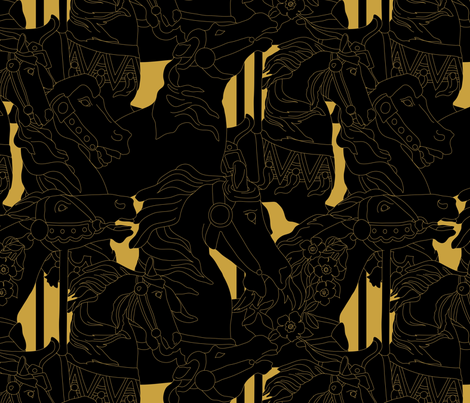 carousel_black_gold_2 fabric by alexandra_eisenberg on Spoonflower - custom fabric