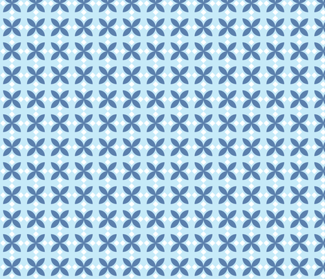 Blue Diamond Flowers fabric by audreyclayton on Spoonflower - custom fabric