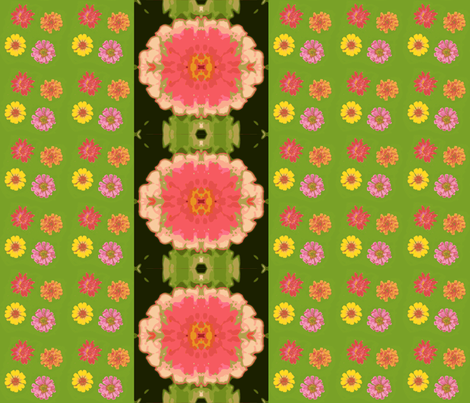 zinnias_and_mirrored_zinnia_black_border_Picnik_collage fabric by khowardquilts on Spoonflower - custom fabric