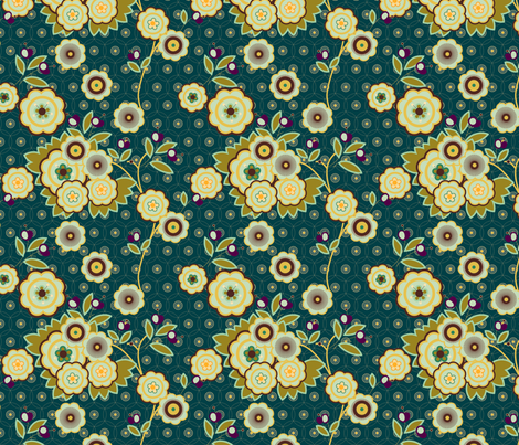 vintage floral blue fabric by fiona_mcdonald_juicyapple on Spoonflower - custom fabric