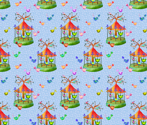 A forest merry go round of love fabric by vo_aka_virginiao on Spoonflower - custom fabric