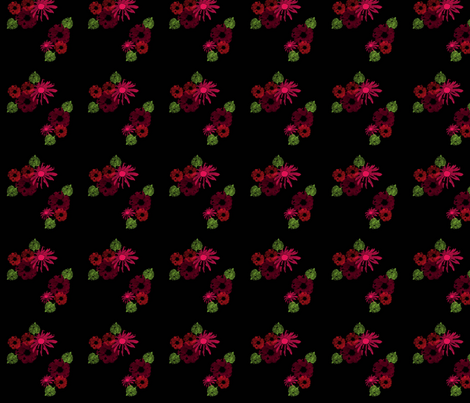 Red_Wine_Flowers_on_Black fabric by snooky on Spoonflower - custom fabric