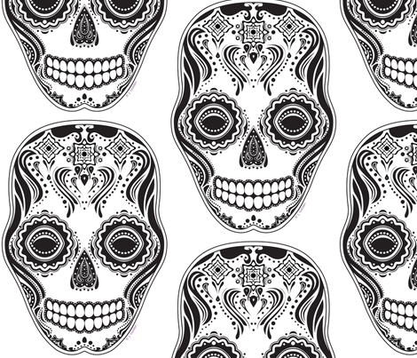 Dia de los Muertos That Girl Skull fabric by jazilla on Spoonflower - custom fabric