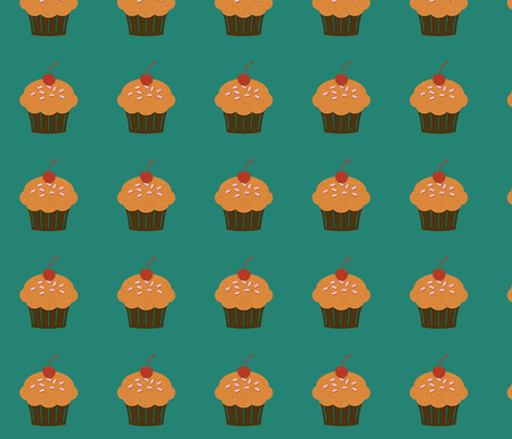 Cupcakes on Green fabric by jnifr on Spoonflower - custom fabric