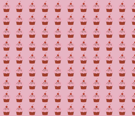 Cupcakes on Pink fabric by jnifr on Spoonflower - custom fabric
