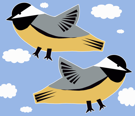 Chick-zilla Chickadee Pillow fabric by owlandchickadee on Spoonflower - custom fabric