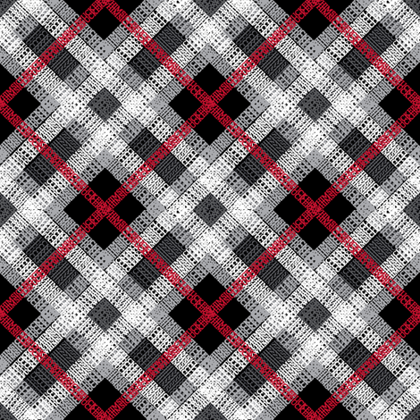 GoBaggery Whimsicle Tartan - Red/White/Black fabric by gobaggerydesign on Spoonflower - custom fabric
