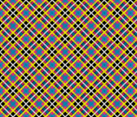 GoBaggery Whimsicle Tartan - Pink/Yellow/Blue/White/Black fabric by gobaggerydesign on Spoonflower - custom fabric