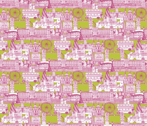 london toile chartreuse pink white fabric by scrummy on Spoonflower - custom fabric