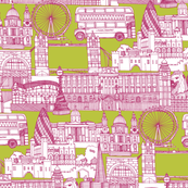 london toile chartreuse pink white