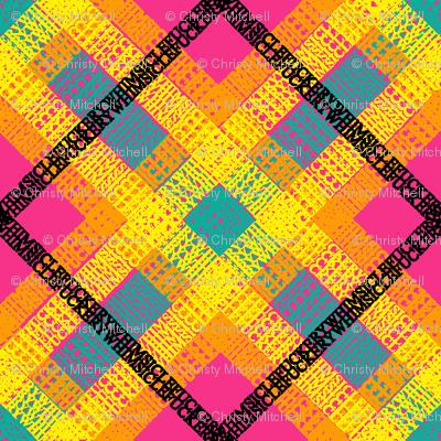 GoBaggery Whimsicle Tartan - Pink/Yellow/Orange/Turquoise/Black