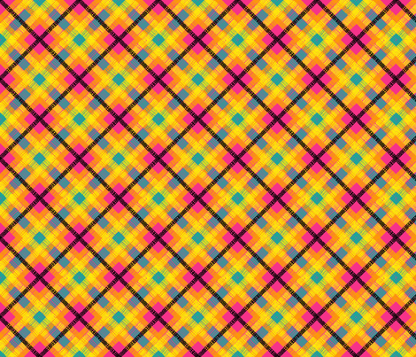 GoBaggery Whimsicle Tartan - Pink/Yellow/Orange/Turquoise/Black fabric by gobaggerydesign on Spoonflower - custom fabric