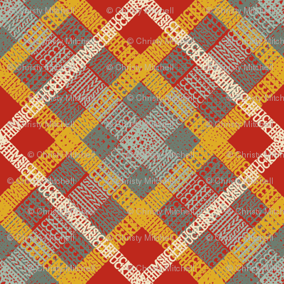 GoBaggery Whimsicle Tartan - Red/Jade/Mustard/Cream