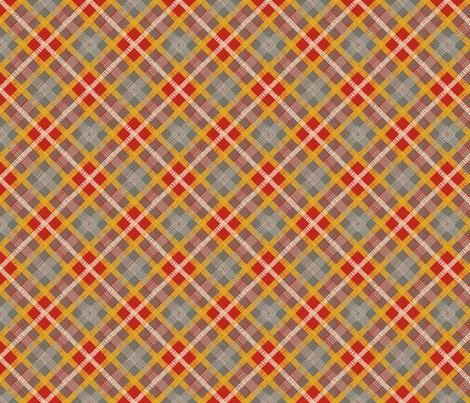 GoBaggery Whimsicle Tartan - Red/Jade/Mustard/Cream fabric by gobaggerydesign on Spoonflower - custom fabric