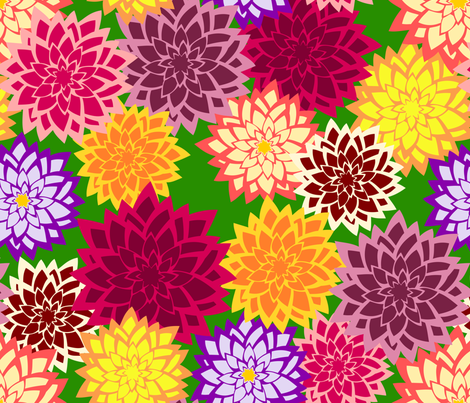 dahlia fabric by rose'n'thorn on Spoonflower - custom fabric