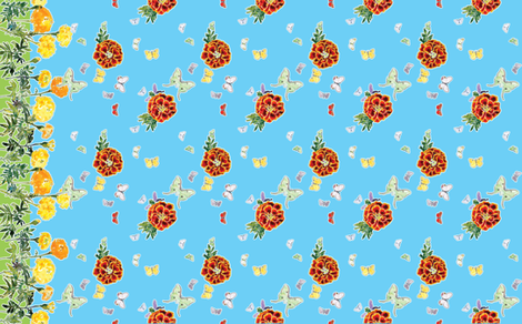 Moths and Marigolds Border Print - Cyan