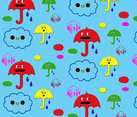 kawaiii_umbrellas fabric by snork on Spoonflower - custom fabric