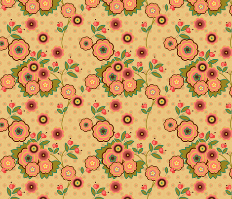 vintage floral beige fabric by fiona_mcdonald_juicyapple on Spoonflower - custom fabric