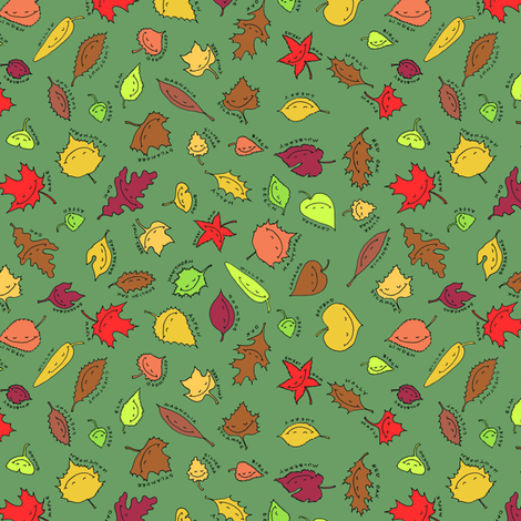 happy autumn, green grass fabric by weavingmajor on Spoonflower - custom fabric
