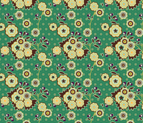 vintage floral teal fabric by fiona_mcdonald_juicyapple on Spoonflower - custom fabric