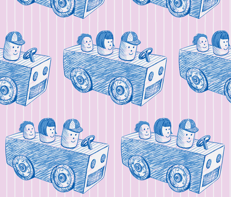 cartoon_car-pink_blue-ch fabric by hollishammonds on Spoonflower - custom fabric