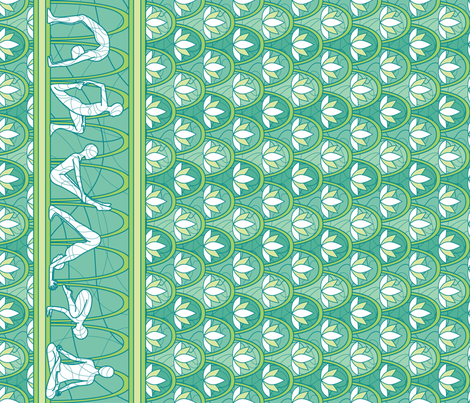 Tranquil Lotus Border fabric by jillianmorris on Spoonflower - custom fabric