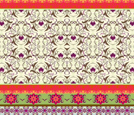 Exotic Blooming Border fabric by hipmama on Spoonflower - custom fabric