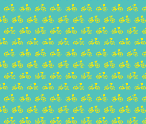 Bicycle Teal/Yellow fabric by srbracelin on Spoonflower - custom fabric