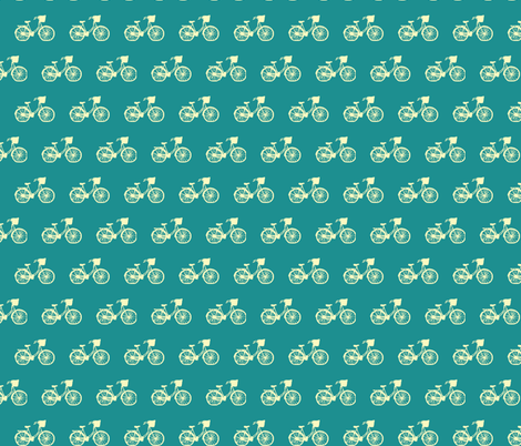 Vintage Bicycle on Turquoise fabric by srbracelin on Spoonflower - custom fabric
