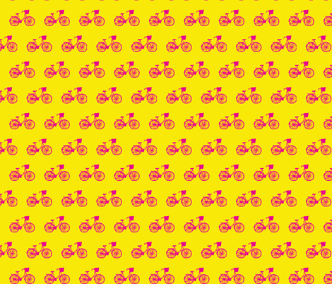 Magenta Bicycle on Sunshine fabric by srbracelin on Spoonflower - custom fabric