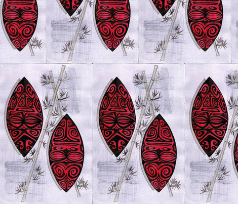Havaiki haute, ruby marquesians fabric by sophista-tiki_by_dawn_frasier on Spoonflower - custom fabric