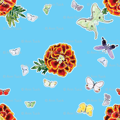Moths and Marigolds - Cyan
