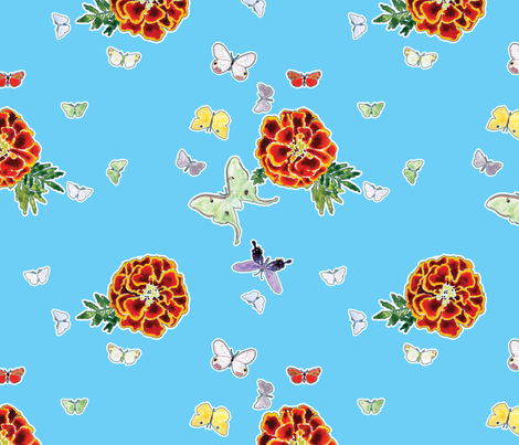 Moths and Marigolds - Cyan fabric by anntuck on Spoonflower - custom fabric
