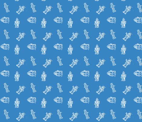 ROBOTS! Rampage White on blue fabric by lazydee on Spoonflower - custom fabric