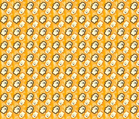 Lil__Ghosties_orange_background fabric by gomakeme on Spoonflower - custom fabric