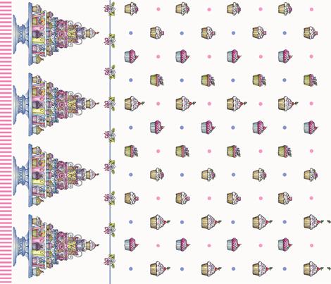 cupcakeborder fabric by leslipepper on Spoonflower - custom fabric