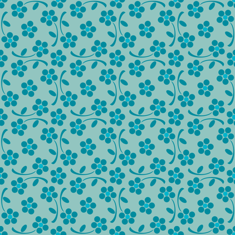 Floral Aqua 5 fabric by diversepixel on Spoonflower - custom fabric