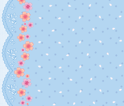 Sakura Bunnies fabric by trirose on Spoonflower - custom fabric